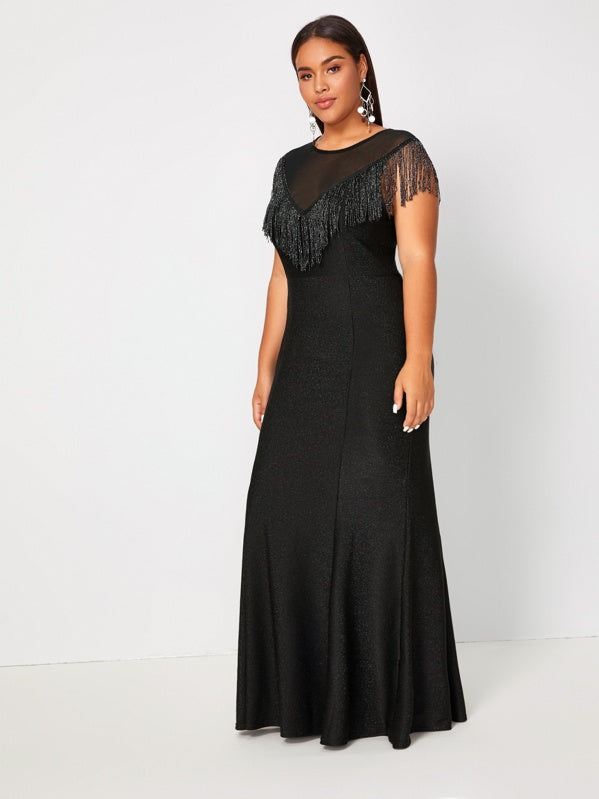 Plus Size Glitter Fringe Mermaid Hem Formal Dress