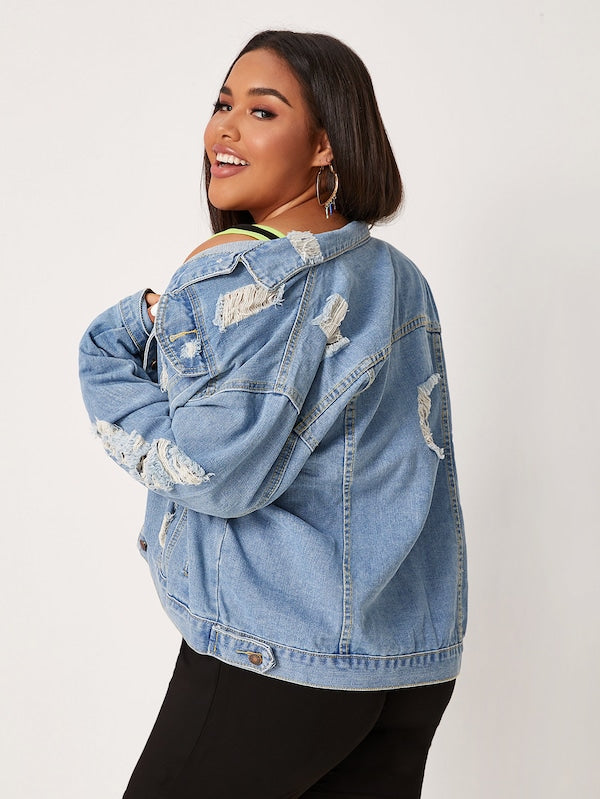 Plus Size Single-Breasted Top Ripped Denim Trucker Jacket