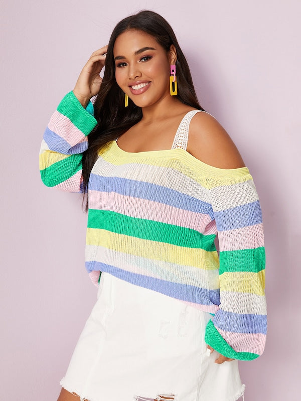 Plus Size Rainbow Striped Open Shoulder Jumper