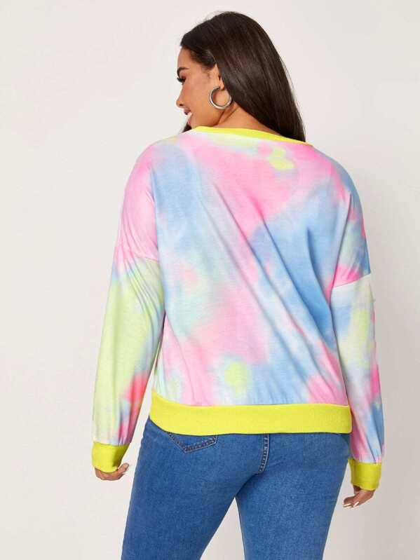 Plus Size Contrast Binding Tie Dye Sweatshirt Top