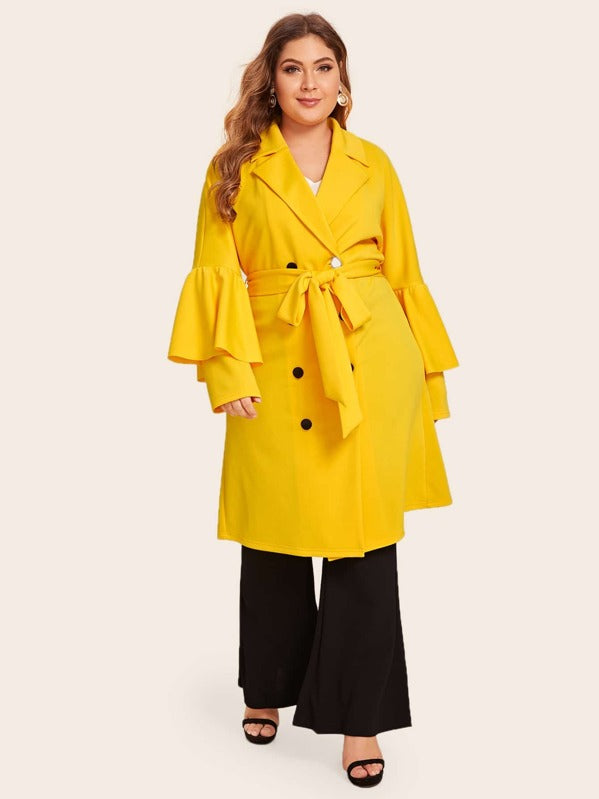 Plus Size Neon Yellow Notched Collar Flounce Sleeve Buttoned