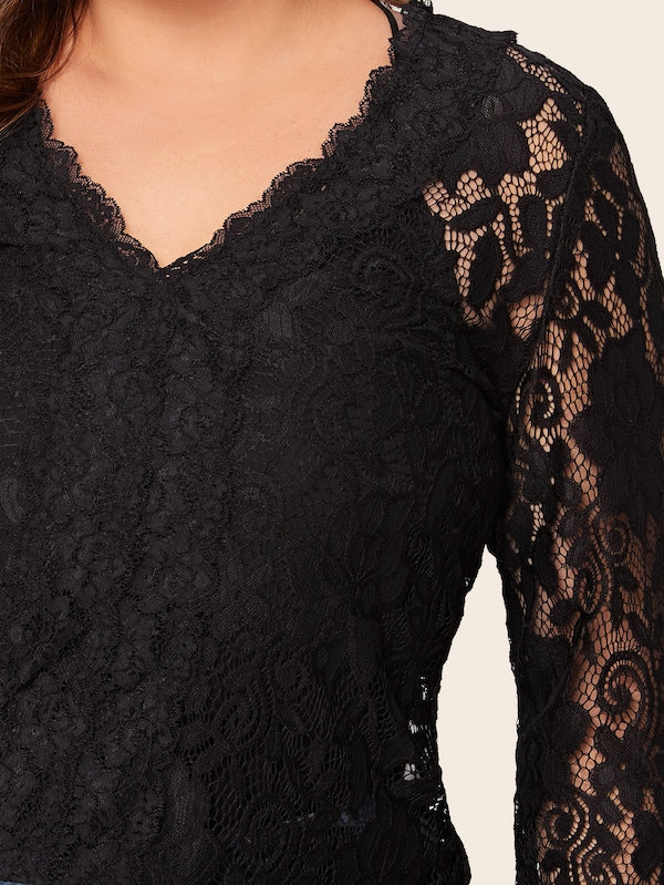 Plus Size Guipure Lace Flounce Sleeve Sheer Blouse