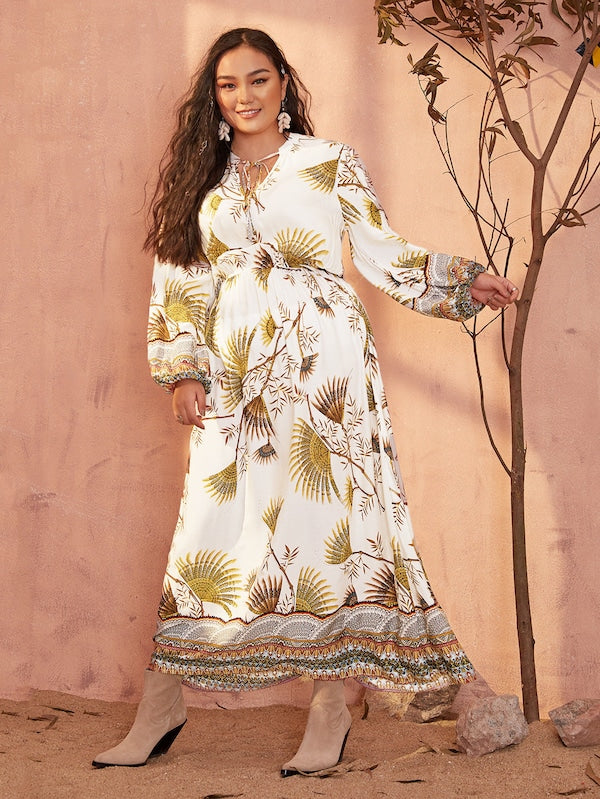 Plus Size Leaf Print Tie Front Bishop Sleeve Dress