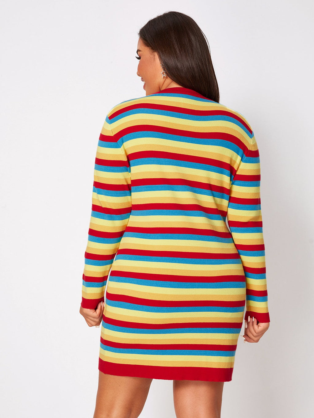 Plus Size Cute Colorful Striped Round Neck Sweater Dress