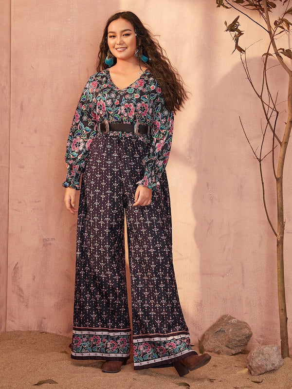 Plus Size Tribal Print Shirred Sleeve Wide Leg Jumpsuit