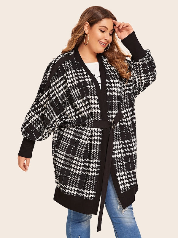 Plus Size Batwing Sleeve Contrast Tape Cardigan