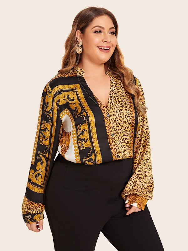 Plus Size Animal Scarf Print High Low Blouse Top