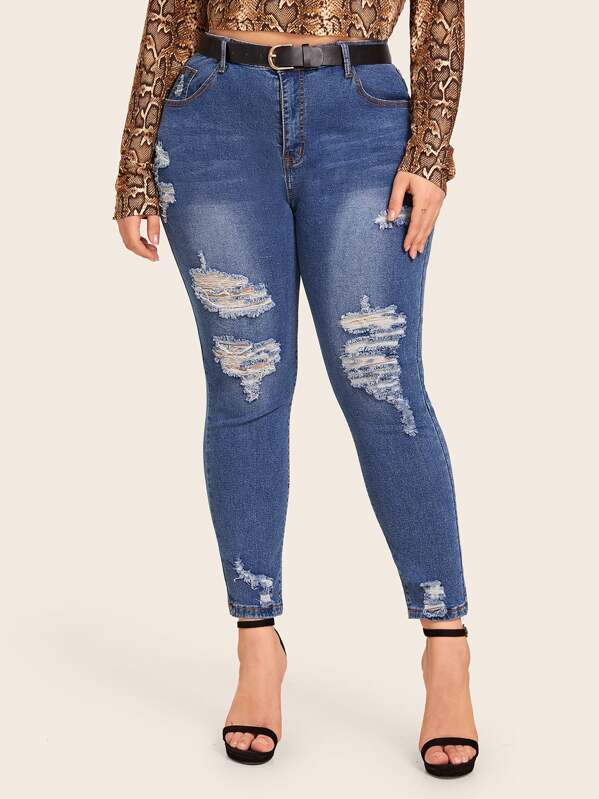 Plus Size Washed Ripped Skinny Jeans