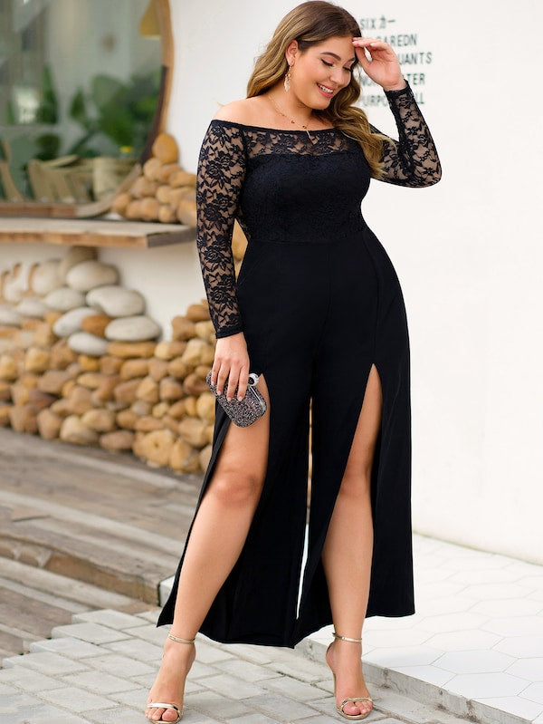 Plus Size Lace Contrast Split Thigh Off Shoulder Jumpsuit