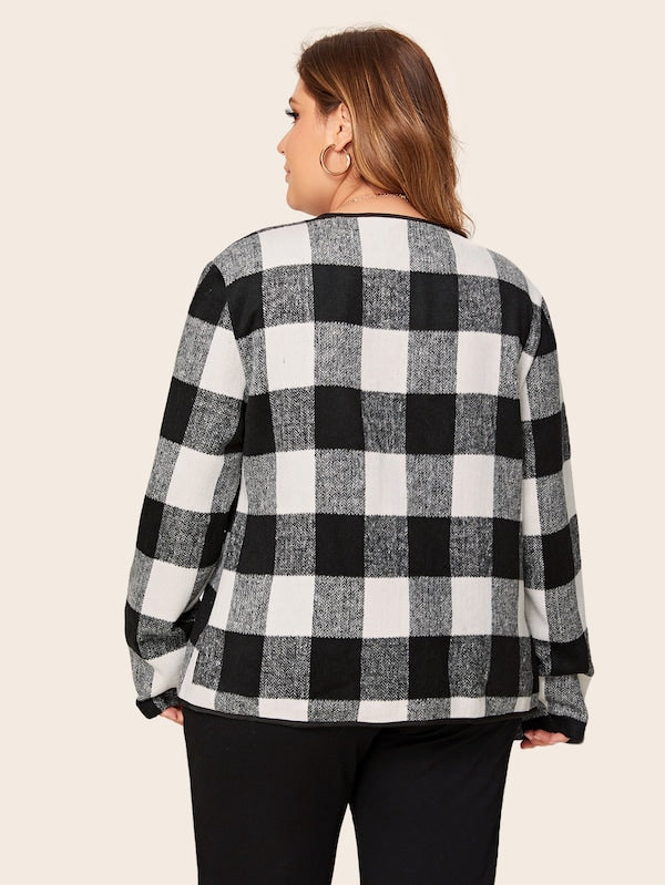 Plus Size Gingham Print Waterfall Collar Open Front Coat Top