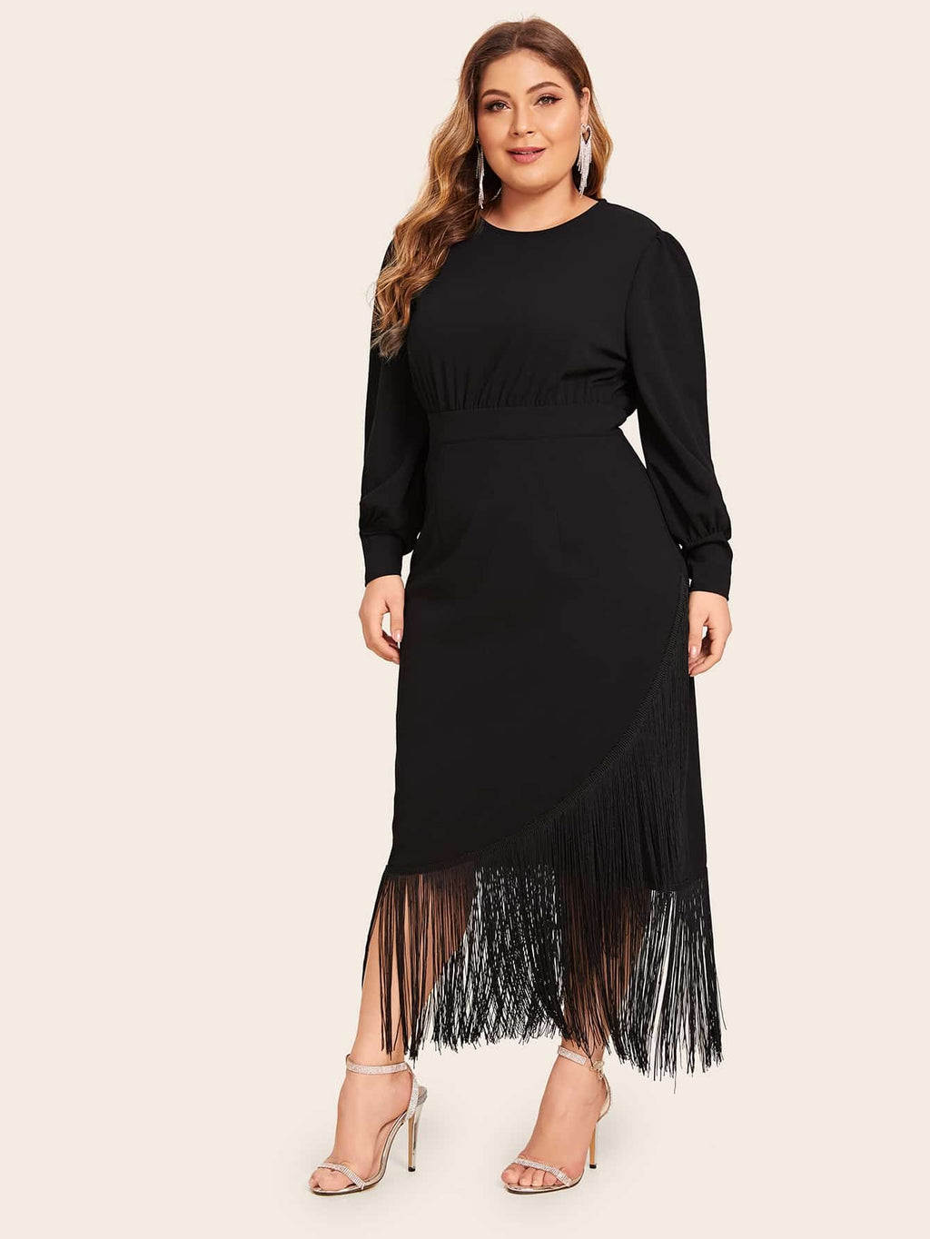 Plus Size Fringe Detail High Waist Wrap Dress