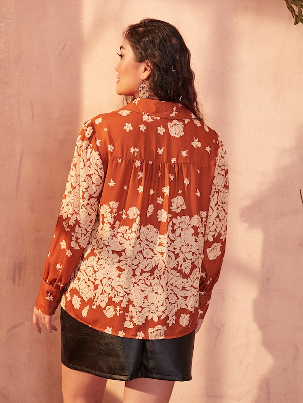 Plus Size Allover Floral Print Blouse