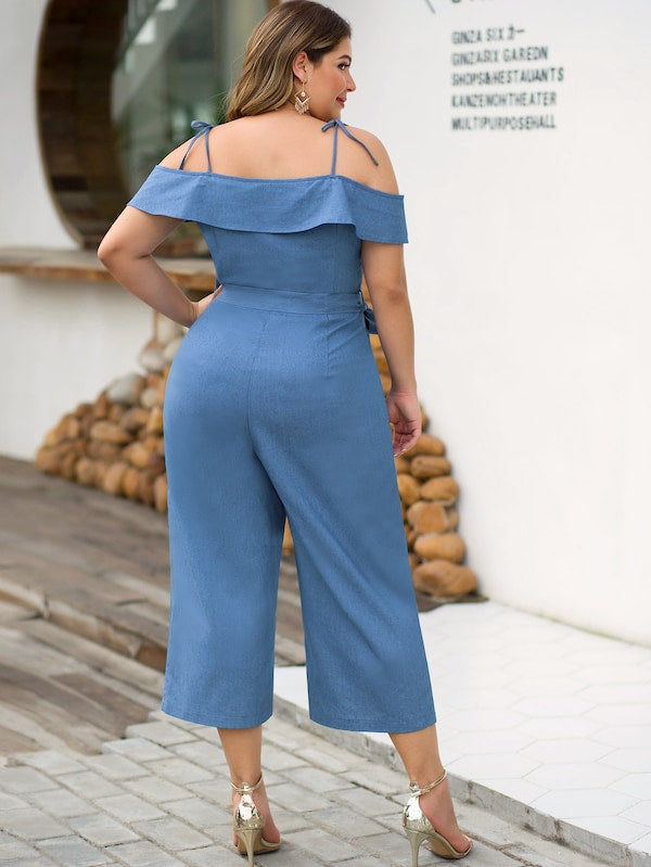 Plus Size Half Button Cold Shoulder Belted Denim Overalls