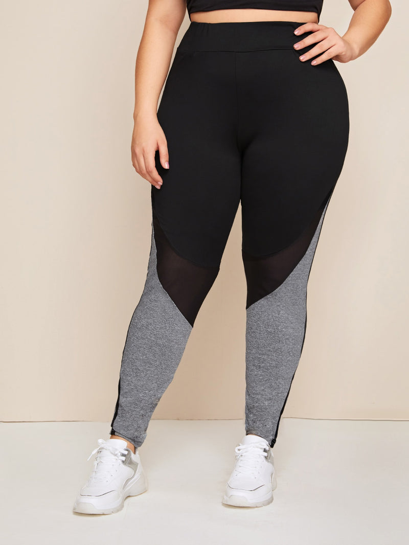 Plus Size Sporty Mesh Insert Colorblock Leggings