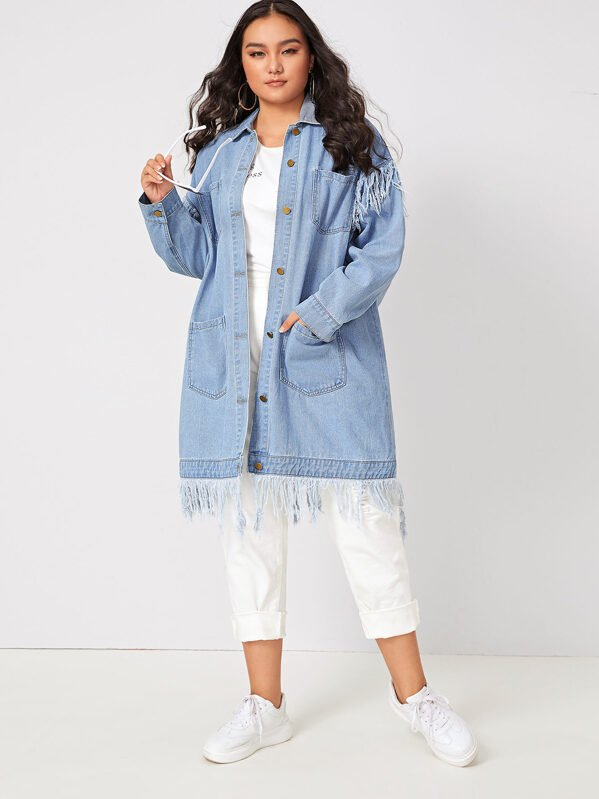 Plus Size Bleach Wash Fringe Hem Denim Jacket