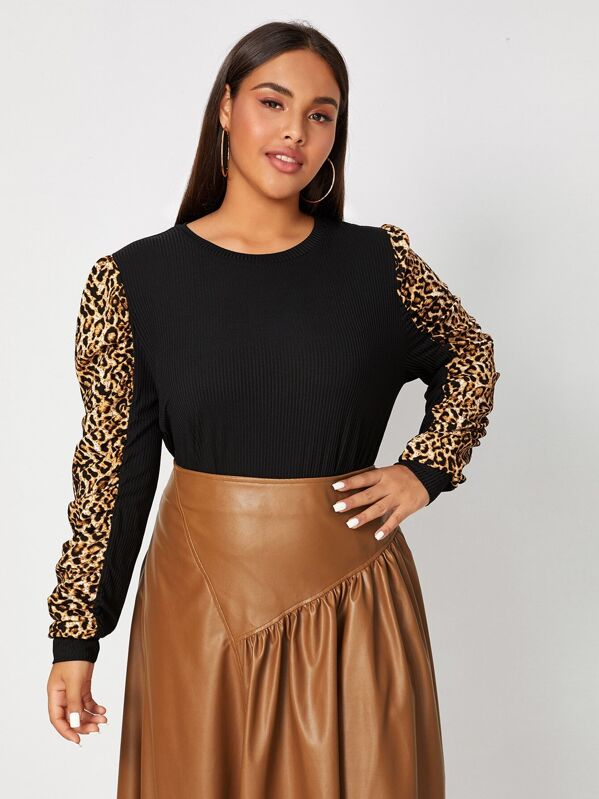 Plus Size Leopard Puff Sleeve Rib-Knit Sweater Top