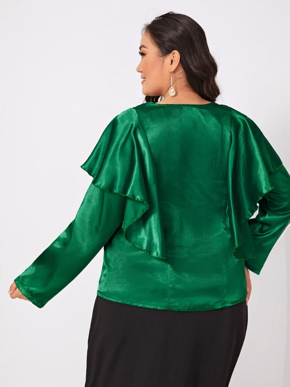 Plus Size Ruffle Trim Tie Front Satin Blouse Top