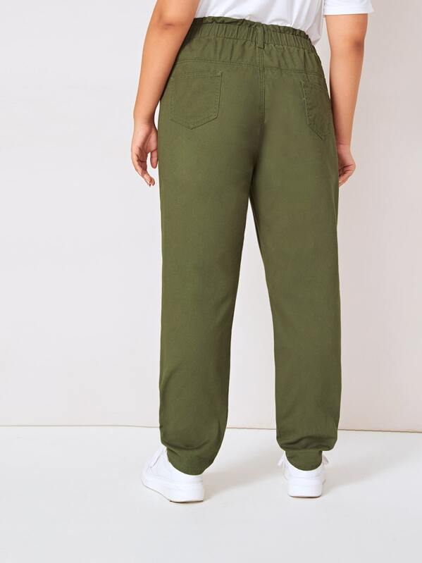 Plus Size Army Green Wash Elastic Waist Jeans