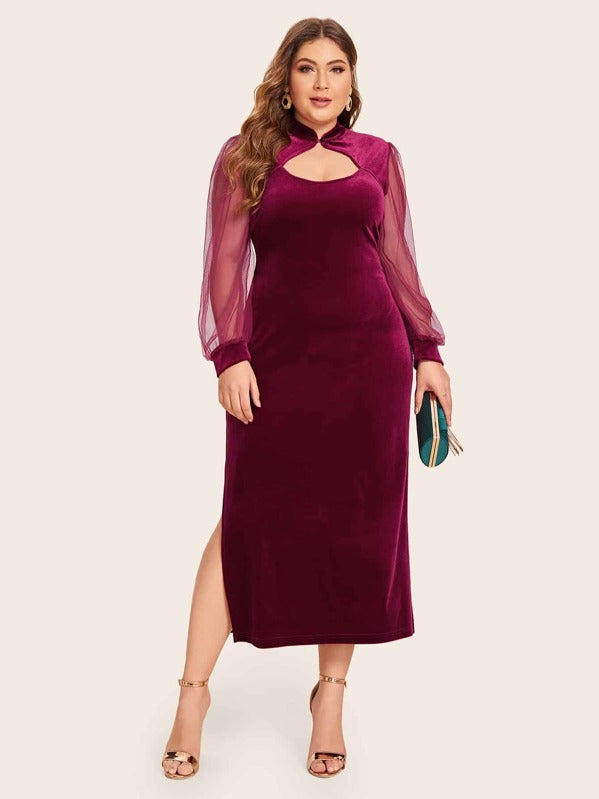 Plus Size Mesh Sleeve Mandarin Collar Velvet Dress