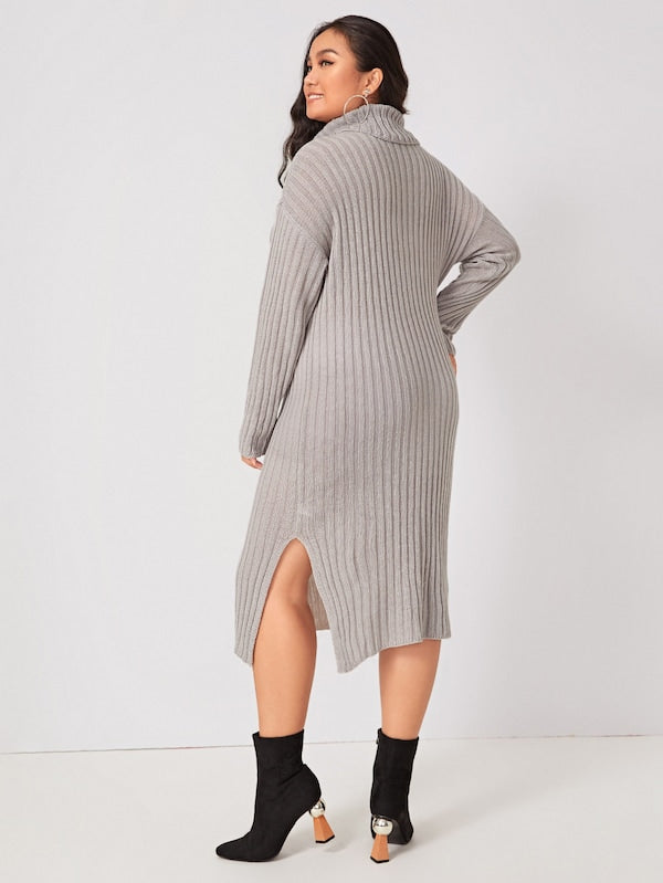 Plus Size Ribbed Split Side High Neck Sweater Dress