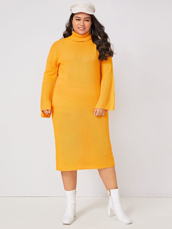 Plus Size High Neck Flounce Sleeve Sweater Dress