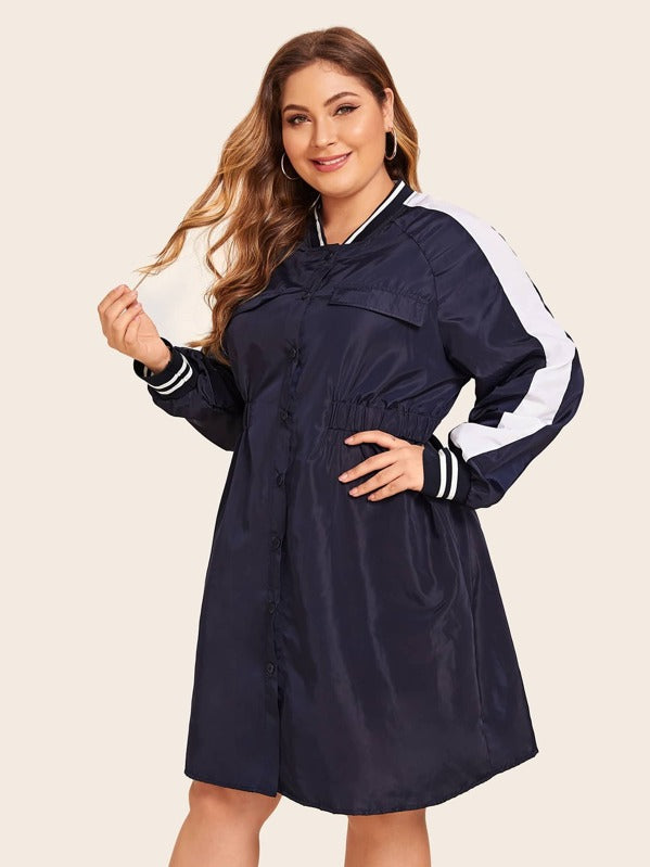 Plus Size Contrast Tape Button Front Windbreaker Jacket Top