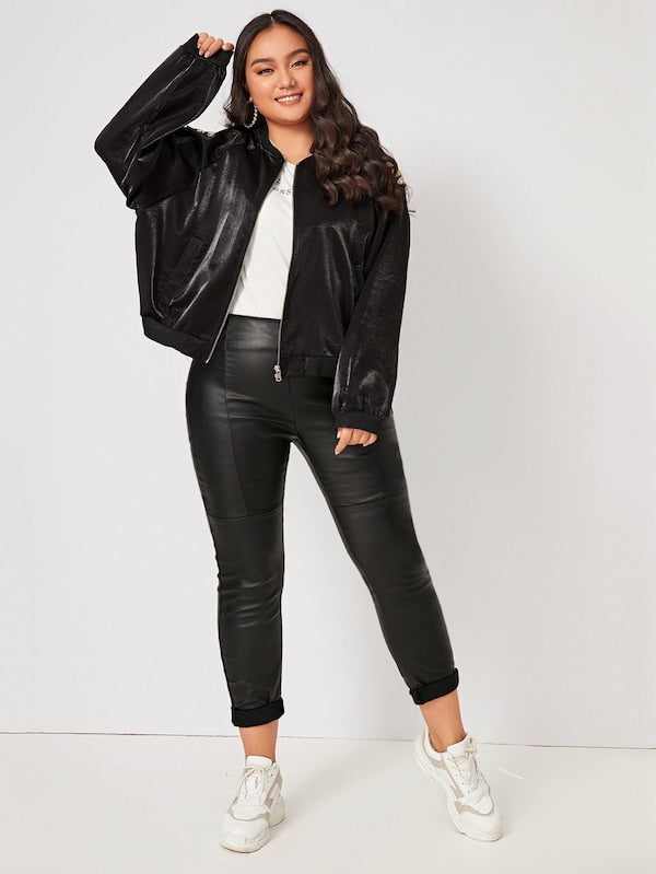 Plus Size Sequin Contrast Wing Back Bomber Jacket