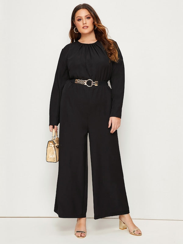 Plus Size Solid Elastic Waist Wide Leg Jumpsuit Without Belt