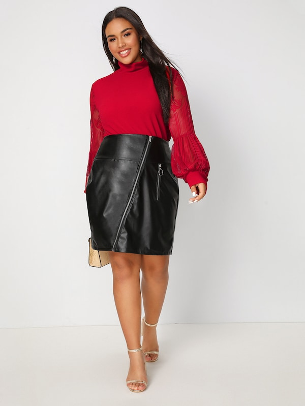 Plus Size O-Ring Zip Detail PU Skirt