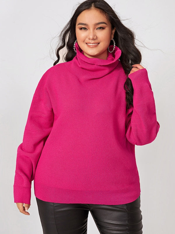 Plus Size Solid High Neck Drop Shoulder Sweater Top