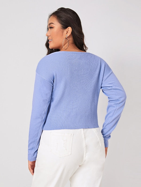 Plus Size V-Neck Drawstring Front Solid Jumper