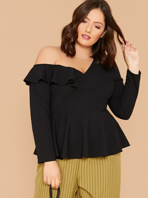Plus Size Asymmetrical Neck Ruffle Trim Peplum Top