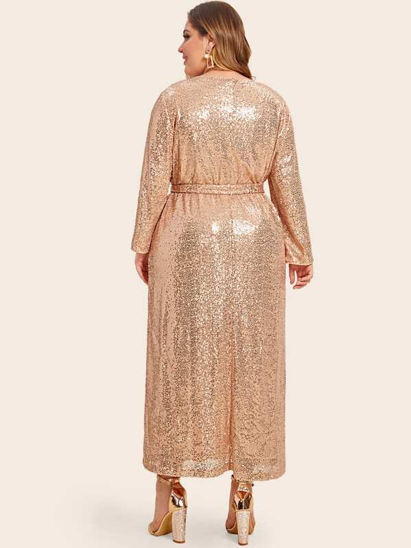 Plus Size Self Belted Sequin Dress