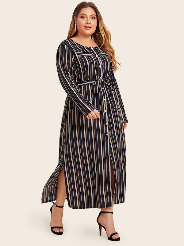 Plus Size Muti-Stripe Button Through Belted Dress
