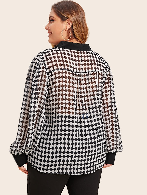 Plus Size Checker Print Lantern Sleeve Blouse