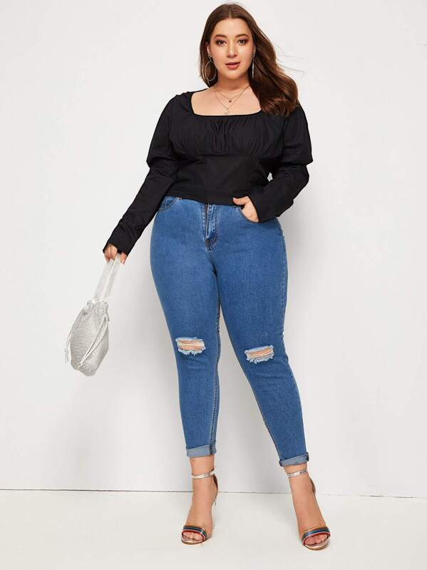 Plus Size Leg-Of-Mutton Sleeve Square Neck Blouse Top