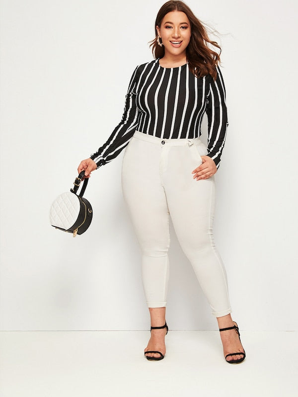 Plus Size Vertical Striped Fitted Bodysuit
