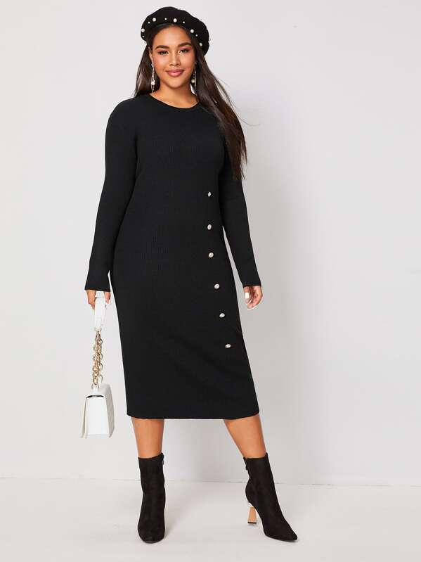 Plus Size Ribbed Button Detail Sweater Dress