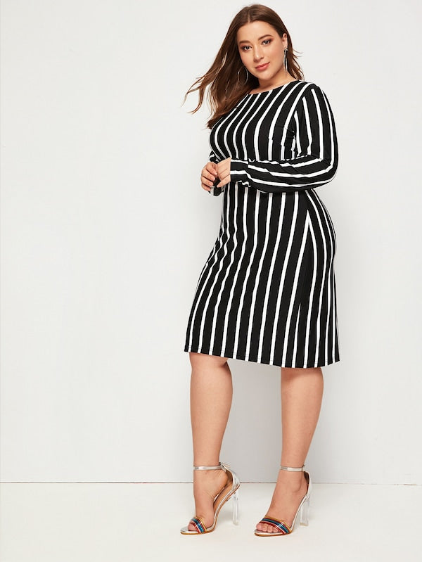 Plus Size Vertical Striped Fitted Dress