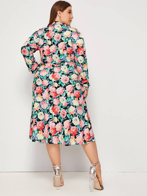 Plus Size Allover Floral Print Mock Neck Dress