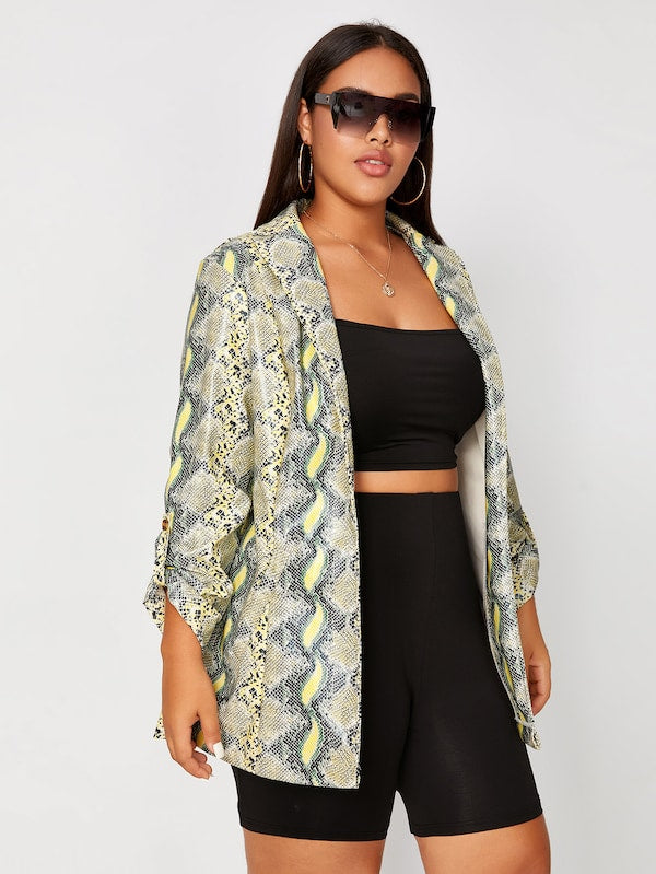 Plus Size Snakeskin Print Shawl Collar PU Blazer Top