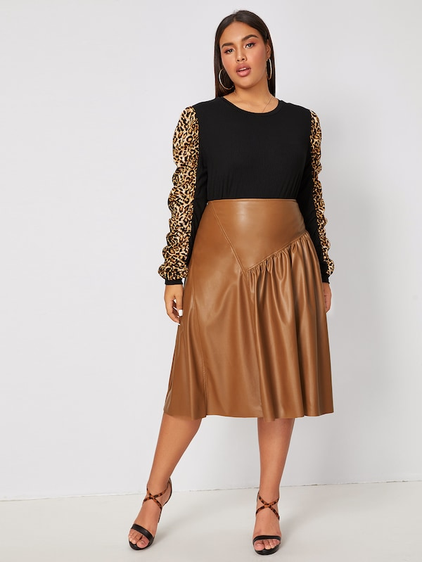 Plus Size Solid Zip Back PU Skirt