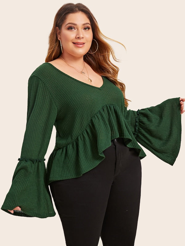 Plus Size V Neck Dip Hem Smock Sweater Top