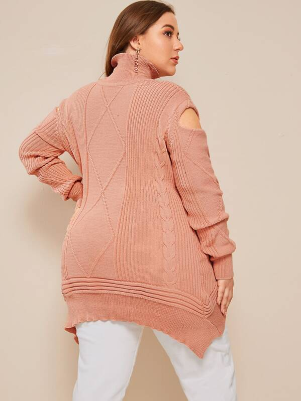 Plus Size Cable Knit Cut Out Asymmetrical Sweater Top