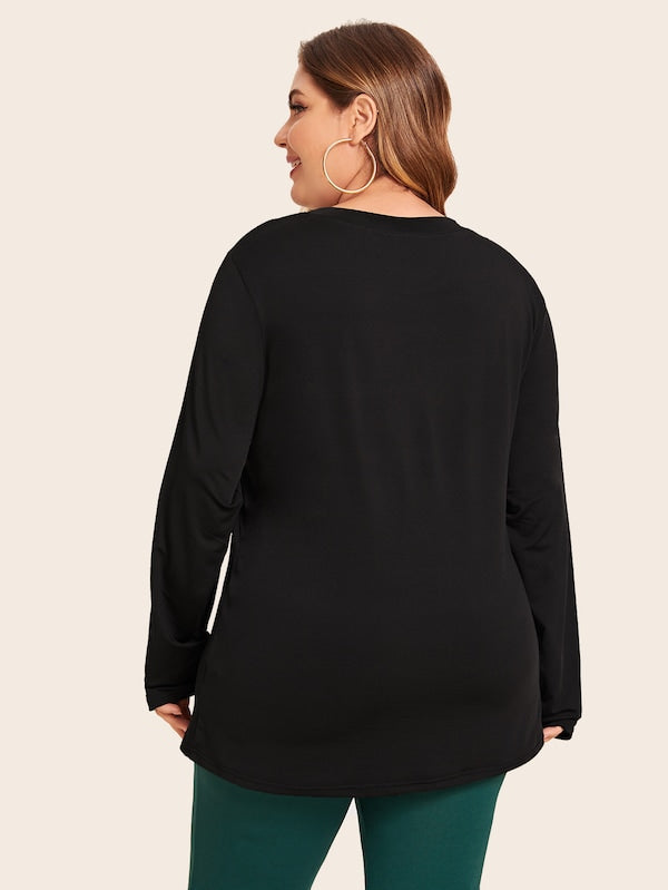 Plus Size Mesh Insert Fitted Top