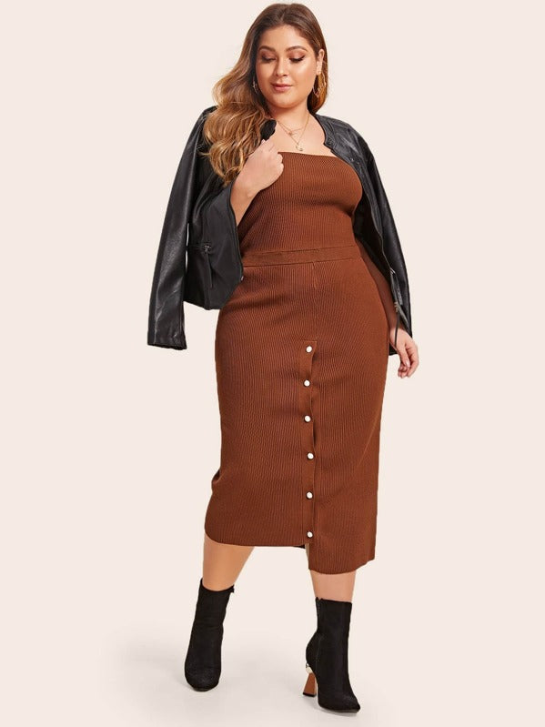 Plus Size Ribbed Tube Knit Top & Sweater Skirt Set