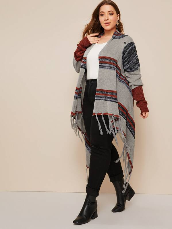 Plus Size Striped Fringe Hem Cardigan Top