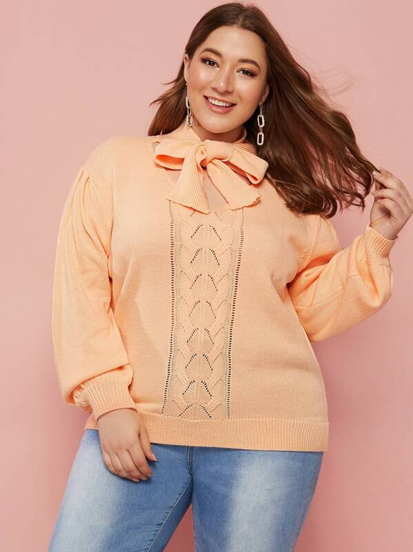Plus Size Tie Neck Mixed Knit Sweater