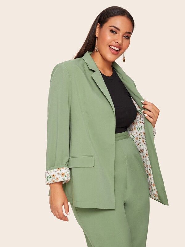 Plus Size Notched Collar Blazer