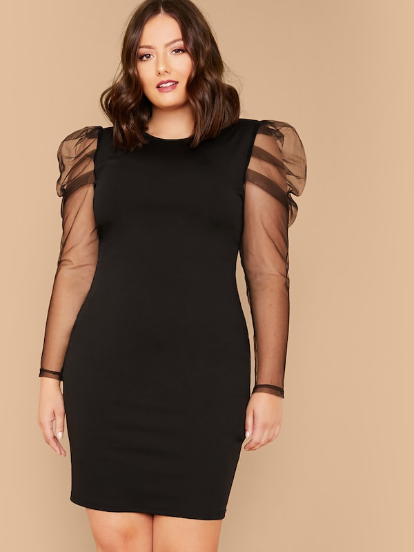 Plus Size Sheer Gigot Sleeve Pencil Dress